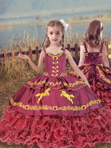 Wine Red Sleeveless Beading and Embroidery and Ruffled Layers Floor Length Girls Pageant Dresses