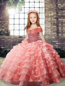 Luxury Watermelon Red Straps Lace Up Beading and Ruffled Layers Little Girls Pageant Dress Brush Train Sleeveless