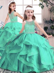Tulle Sleeveless Floor Length Little Girl Pageant Gowns and Beading and Ruffles