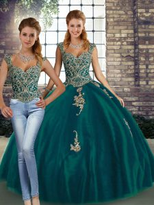 Chic Peacock Green Lace Up Straps Beading and Appliques Ball Gown Prom Dress Tulle Sleeveless
