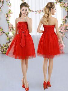 Elegant Red Empire Strapless Sleeveless Tulle Mini Length Side Zipper Beading and Bowknot Court Dresses for Sweet 16