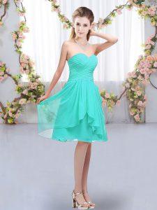 Adorable Knee Length Turquoise Dama Dress Sweetheart Sleeveless Lace Up
