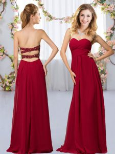 Wine Red Court Dresses for Sweet 16 Wedding Party with Beading Sweetheart Sleeveless Criss Cross
