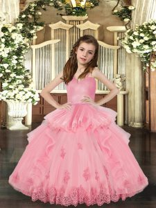 Baby Pink Ball Gowns Tulle Straps Sleeveless Lace and Appliques Floor Length Lace Up Child Pageant Dress