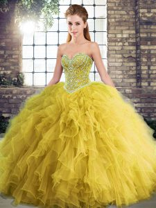Gold Tulle Lace Up Sweetheart Sleeveless Floor Length 15th Birthday Dress Beading and Ruffles