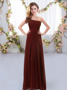 New Style Brown One Shoulder Neckline Ruching Damas Dress Sleeveless Zipper