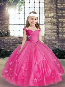 Luxurious Hot Pink Tulle Lace Up Straps Sleeveless Floor Length Pageant Dress Womens Beading and Hand Made Flower