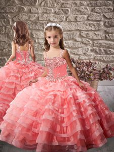 Excellent Straps Brush Train Lace Up Girls Pageant Dresses Watermelon Red Organza