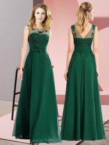 Dark Green Scoop Zipper Beading and Appliques Vestidos de Damas Sleeveless