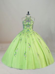 Brush Train Ball Gowns Quince Ball Gowns Yellow Green Halter Top Tulle Sleeveless Lace Up