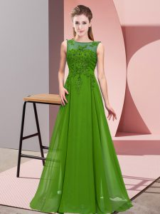 Green Sleeveless Beading and Appliques Floor Length Quinceanera Court of Honor Dress