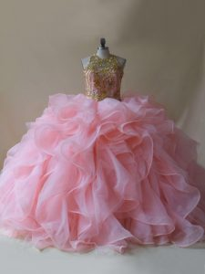 Sophisticated Sleeveless Brush Train Beading and Ruffles Backless Quinceanera Dresses
