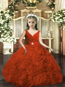 Best Sleeveless Backless Floor Length Beading and Ruching Pageant Gowns For Girls