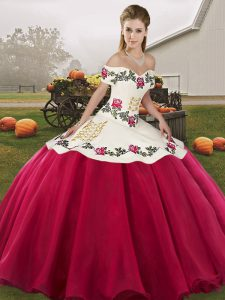 Pretty Floor Length Hot Pink Ball Gown Prom Dress Off The Shoulder Sleeveless Lace Up