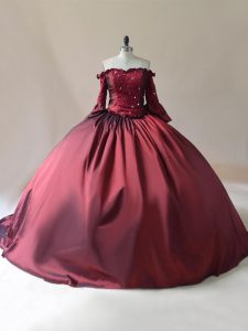 Shining Burgundy Ball Gowns Beading Quinceanera Dresses Lace Up Satin Long Sleeves