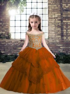 Dynamic Floor Length Lace Up Little Girl Pageant Gowns Rust Red for Party with Beading and Appliques