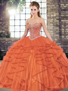 Eye-catching Rust Red Tulle Lace Up Quince Ball Gowns Sleeveless Floor Length Beading and Ruffles