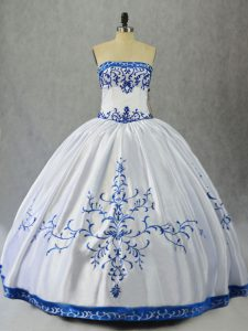 Gorgeous Floor Length Lace Up Ball Gown Prom Dress Blue And White for Sweet 16 and Quinceanera with Embroidery