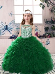 Dark Green Scoop Lace Up Beading and Ruffles Little Girls Pageant Dress Sleeveless