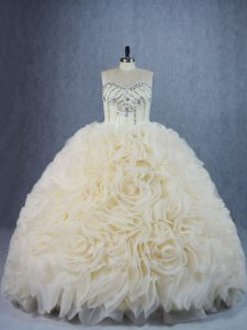 High Quality Ball Gowns Sleeveless Champagne Quince Ball Gowns Brush Train Lace Up