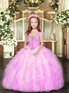 Lilac Tulle Lace Up Straps Sleeveless Floor Length Pageant Dress for Teens Beading and Ruffles