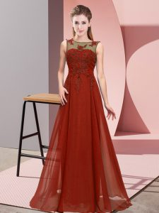Chiffon Sleeveless Floor Length Vestidos de Damas and Beading and Appliques
