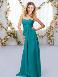 Modern Beading Dama Dress Teal Criss Cross Sleeveless Floor Length