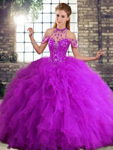 Purple Ball Gowns Halter Top Sleeveless Tulle Floor Length Lace Up Beading and Ruffles Sweet 16 Dresses