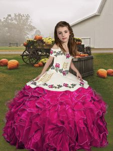 Fuchsia Lace Up Little Girls Pageant Dress Embroidery and Ruffles Sleeveless Floor Length