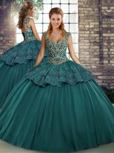 Green Sleeveless Floor Length Beading and Appliques Lace Up Quince Ball Gowns