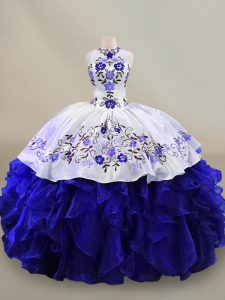Adorable Ball Gowns Quinceanera Dress Blue And White Halter Top Organza Sleeveless Floor Length Lace Up