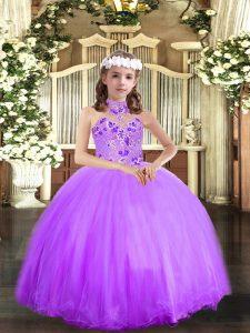 Appliques Little Girls Pageant Dress Wholesale Lavender Lace Up Sleeveless Floor Length
