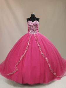 Hot Pink Ball Gowns Beading Vestidos de Quinceanera Lace Up Tulle Sleeveless