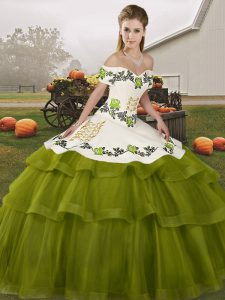 Olive Green Sweet 16 Quinceanera Dress Military Ball and Sweet 16 and Quinceanera with Embroidery and Ruffled Layers Off The Shoulder Sleeveless Brush Train Lace Up