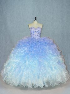 Pretty Multi-color 15th Birthday Dress Sweet 16 and Quinceanera with Beading and Ruffles Sweetheart Sleeveless Lace Up