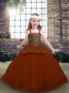 Tulle Sleeveless Floor Length Pageant Dress Toddler and Beading and Lace