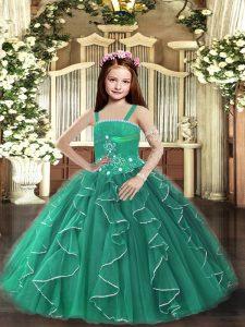 Sleeveless Beading and Ruffles Lace Up Little Girls Pageant Dress Wholesale