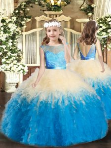 Scoop Sleeveless Backless Little Girls Pageant Gowns Multi-color Lace