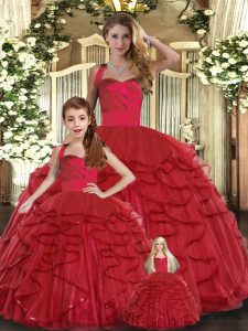 Red Straps Neckline Ruffles Ball Gown Prom Dress Sleeveless Lace Up
