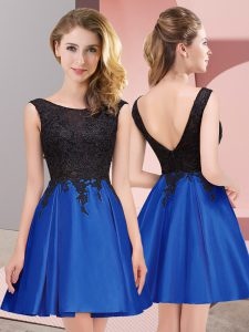 Mini Length Royal Blue Dama Dress for Quinceanera Scoop Sleeveless Zipper