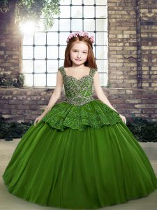Customized Sleeveless Tulle Floor Length Lace Up Pageant Dresses in Green with Beading