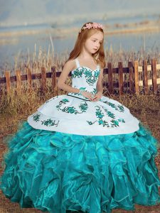 Organza Straps Sleeveless Lace Up Embroidery and Ruffles Pageant Gowns in Aqua Blue