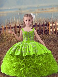 Clearance Yellow Green Fabric With Rolling Flowers Lace Up Pageant Dress for Womens Sleeveless Sweep Train Embroidery