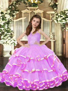 Hot Sale Floor Length Lavender Glitz Pageant Dress Straps Sleeveless Lace Up