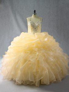 Fashionable Floor Length Gold 15th Birthday Dress Straps Sleeveless Zipper