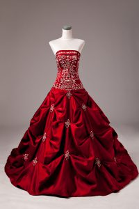 Wine Red Taffeta Lace Up Strapless Sleeveless Quinceanera Gown Brush Train Embroidery and Pick Ups