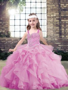 Ideal Lilac Sleeveless Beading and Ruffles Floor Length Kids Pageant Dress