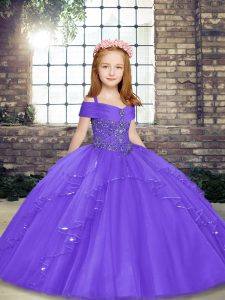 Sleeveless Floor Length Beading Lace Up Little Girls Pageant Dress with Lavender