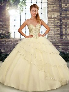 Sleeveless Brush Train Lace Up Beading and Ruffled Layers 15th Birthday Dress