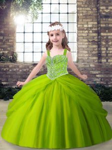 Wonderful Sleeveless Tulle Floor Length Lace Up Pageant Dress in Green with Beading and Pick Ups